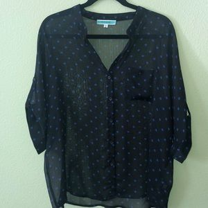 PLEIONE Sheer Polka Dot Top